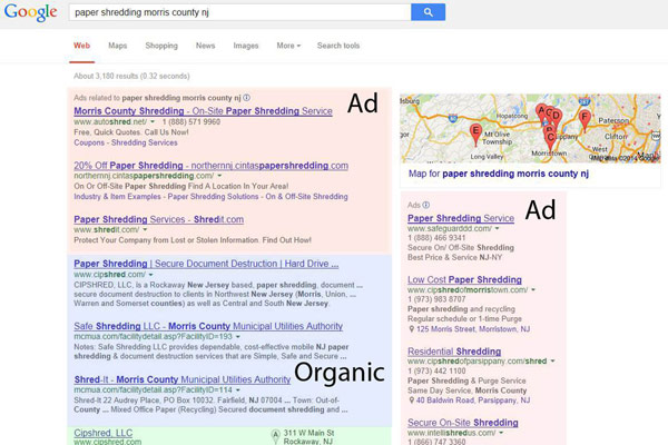 Traditional Google ad layout